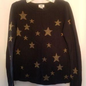 OLD NAVY GOLD STARS BLACK CREWNECK SWEATER TOP